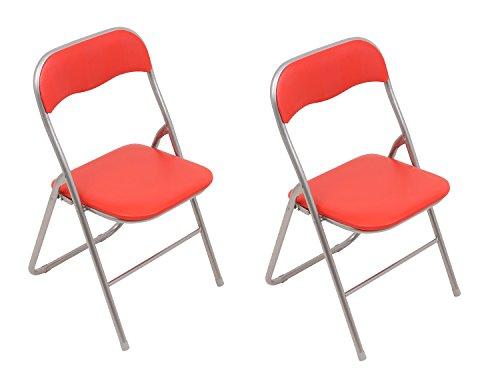 Set: 2x Klappstühle mit Metallrahmen und Kunstlederbezug, silber-rot