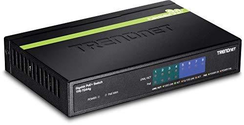 TRENDnet 8-Port Gigabit PoE+ Switch, 123 Watt PoE Gesamtleistung, 16 Gbit/s Schaltkapazität, Metallgehäuse, TPE-TG80G (Trendnet 8-port)