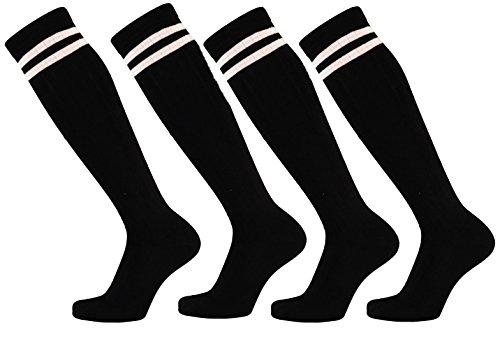 krautwear Damen Mädchen Cheerleader College 4 Paar Kniestrümpfe 2 Streifen Gestreifte Overknees Sportsocken Knie-Lange Geringelte Strümpfe Geringelt Gestreift Streifen Schwarz Weiß 35-42 (4x bw)
