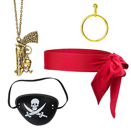 Pirate Red Kostüm Captain - Beelittle 4 Stück Captain Pirate Kostüm Zubehör Set Red Head Tie Schal Wrap Bandana Pirate Augenklappe Gold Ohrring Halskette Pirate Accessories Kit (C)