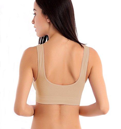 TQP-CK Donna Yoga Reggiseno Sportivo Fitness Con Cuscinetto Rimovibile Senza Cuciture Beige