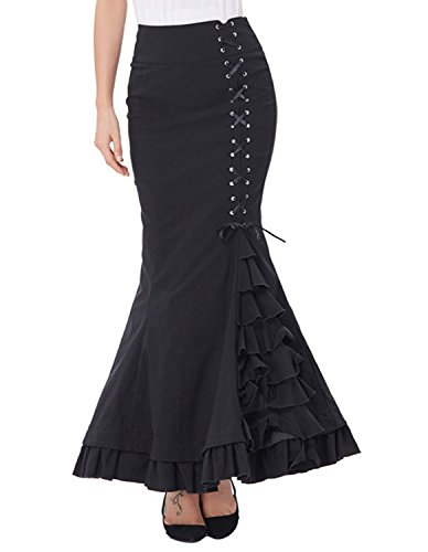 Burvogue De Mujer Vintage Steampunk Falda Vestido Largo Multi Capas de Volantes Negro black8 XXX-Large