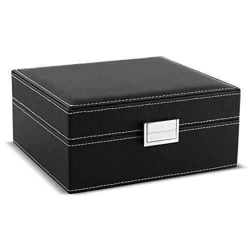 Mvpower Caja para relojes Estuche para guardar Joyerías Soporte de Exhibición de Relojes Pulsera PU Negro (6 Compartimentos (2x3) Almohadillas Beiges)