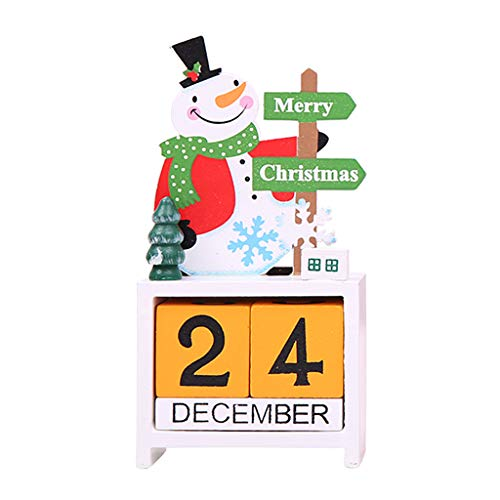 Liangjunjun Holzkalender Weihnachtsdekoration Dekorationsartikel Weihnachtsgeschenk für Kinder weiß