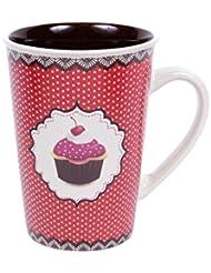Kaffeebecher XXL Kaffetasse aus Steingut Kaffee Pott Retro Kaffee-Becher Cup Henkeltasse Motiv Cupcake von Alsino