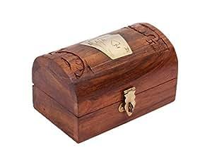 Store Indya, A mano Scheda di gioco Supporto di legno della cassa della scatola con ottone intarsio lavoro