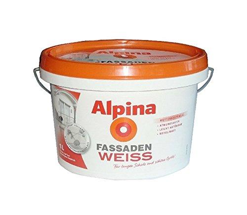 Alpina Farbe Fassaden Weiss matt 1 L. umweltschonend, schadstoffarm, gut deckend