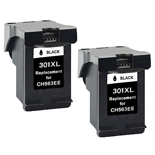 2x Black Ink Cartridges Remanufactured HP 301 XL 301XL Ink Cartridges Compatible with Envy 4500 5530, Deskjet 2540 1510 1050 3050 3055A 2050 3050A 1050A 2510, Officejet 4630 2620