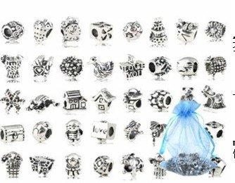 Beautylife 40 pc placcati argento antico di metallo ossidato perline charms set mix lotto - compatibile con pandora biagi troll chamilia bracciali