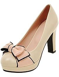 YE Damen Blockabsatz Pumps Geschlossene High Heels Plateau mit Schleife und  10 Absatz Elegant Schuhe b23fdd5d1c