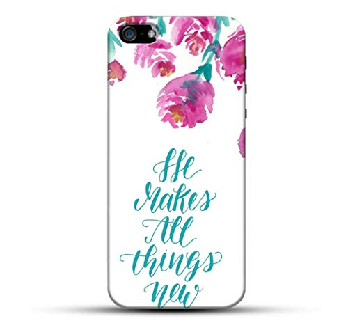 Outlouders Pink Floral Flower He Makes All Things White Background Designer Printed Hard Back Case and Cover for Apple iPhone 5S