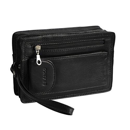 BRANCO Leder - exquisite Leder Herren Handgelenktasche , Herrentasche , Handtasche , Ledertasche , Doppelkammer in verschiedenen Farben verfügbar - präsentiert von ZMOKA® (Schwarz)