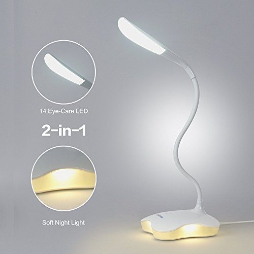 2 in 1 Book Light, LEDemain LED Reading Desk Lamp with Night Light, 14 Eye-Care LED, 3 Level Dimmable with Touch Control Botton, Flexible Goosneck, USB Rechargeable Bedside Bedroom Craft Table Lamp, Booklight, for Kids Children