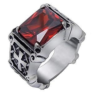 Asa Jewell Damen Ring Edelstahl Rot Rot Silber SA361