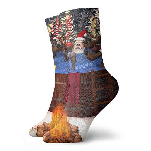 sexy world 3D-Cartoon-Illustration mit Santa Claus und mehreren Rentieren in einem Outdoor-Whirlpool Socken Crew für Trekking, Performance, Outdoor, Männer, Frauen, Kinder, Socken Länge 11,8 Zoll