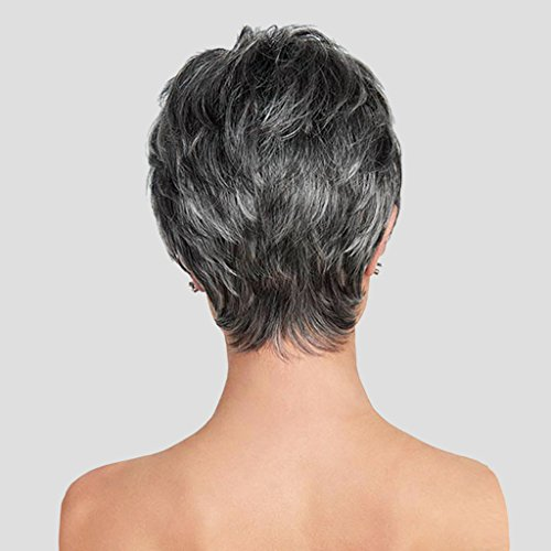 GROOMY Mode Damen perücke Frauen Kurze graue Mischung gerade Cosplay Haar flauschig lässig