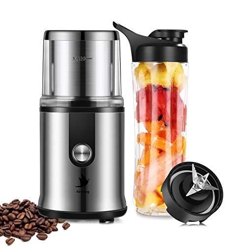 Nestling® 2 in 1 Multifunktion Mini Elektrische Kaffeemühle 300W 50-60Hz Smoothie Maker, Shake Mixer, Blender elektrisch, Kaffeebohnen Nüsse Gewürze Getreide Mühle mit 304 Edelstahlmesser