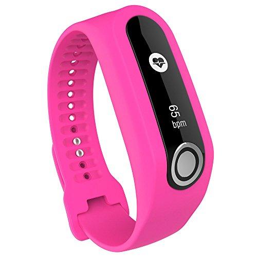 Holeider-Uhrenarmband ┇ Sport Silikon Armband Uhrarmband Band für Tomtom Cardio Activity Tracker (Hot Pink)