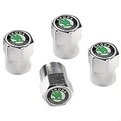 Skoda in metallo cromato, protezione antipolvere per valvola pneumatico