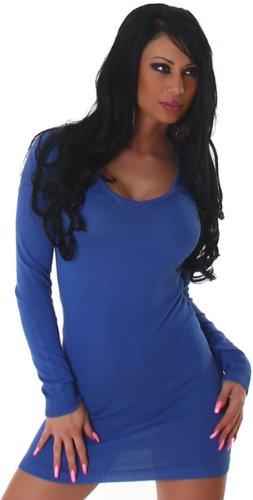 Jela London Damen Strickkleid mit V-Ausschnitt Einheitsgröße (32-38) Blau
