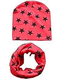 TININNA 2 en 1 Bonnet Echarpe Tour de Cou en Coton Bébé Enfant Fille Garçon Chaud Tricot Automne Hiver Neck Wraps Rouge