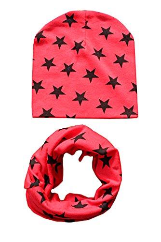 TININNA Kinder Mädchen Jungen Winter Stern Loop Schal Rundschal Schlauchschal Strickschal Hut Mütze Set Rot
