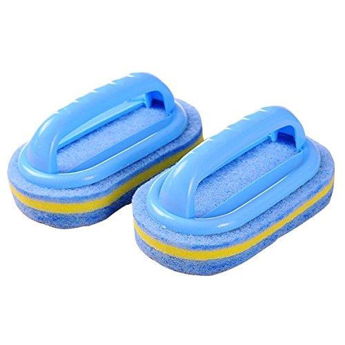 Dee Plus Hausmeisterbedarf, Kunststoff-Griff-Schwamm-Bad-Bürsten-Reinigungs-Fliesen-Glas-saubere Bürsten - Pool-Fliesen-Wäscher-Reinigungs-Schwamm-Duschbad-Griff-Bürste,Blau| Geschenkbeutel -