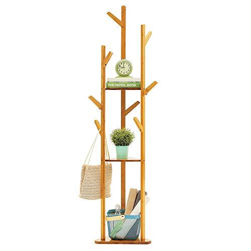 ZLYCZW Bambus-Garderobenständer, multifunktionale Aufbewahrung, Baumkleiderkleidung, Mantel, Hut, Regenschirm, tragbarer Kleiderbügelständer, Gestell mit dreistufigen Ablagen und Haken (Farbe: Natur) -