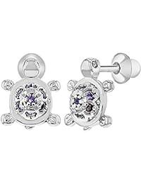 aa36ab275795 In Season Jewelry - Chapado en Rodio Circonita Morado Pequeña Tortuga Aretes  con Cierre de Rosca