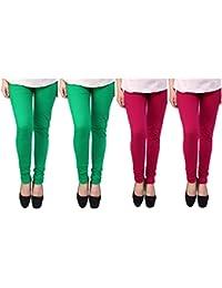 Anekaant Cotton Lycra Women's Churidar Legging Pack of 4 (2, Parrot Green & 2, Deep Rani)
