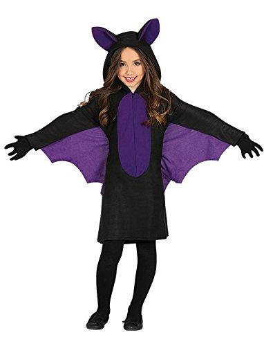 Guirca Fledermaus Kostüm mit Flügeln für Mädchen Kinder Halloween swarz Lila Kleid Gr. 98-146, Größe:140/146