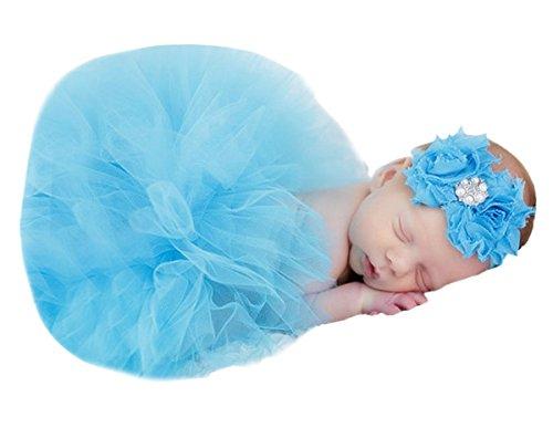 Kostüm Mädchen Cherry - Happy Cherry Baby Foto Kostüm (Rock+ Stirnband) Bekleidungsset Kostüm für neugeborene Mädchen Rock Tutu Kleidung Prop Outfits Bekleidung Set-3-6 Monate-Blau