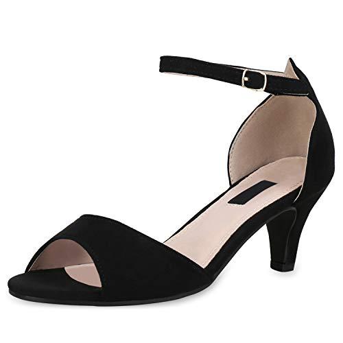 SCARPE VITA Damen Sandaletten Riemchensandaletten Klassische Party Schuhe Stiletto Schicke Wildleder-Optik Absatzschuhe 180508 Black 39 Party Schuhe