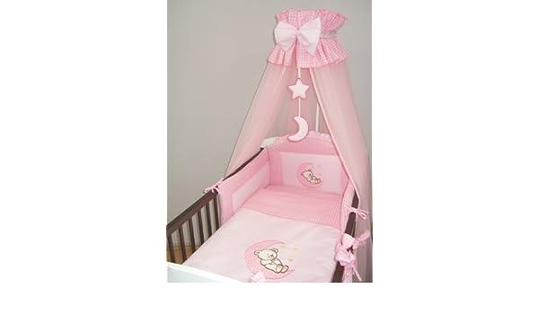 11-teiliges Baby-Bettw/äsche-Set mit Himmel Bettdecke f/ür 140 x 70 cm Kinderbett Herzen, grau Sto/ßstange