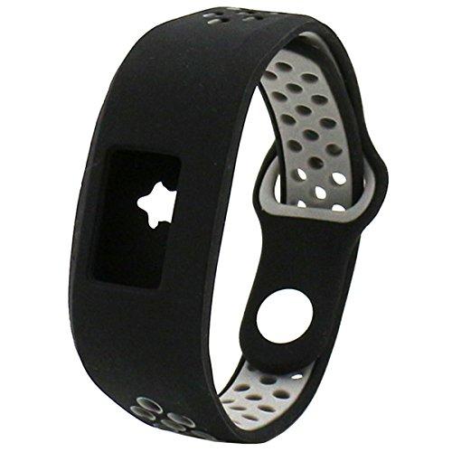 Elespoto Garmin Vivofit 3 Gen Bänder, Klassische Armbänder Sportliches Ersatzband mit Verstellbarer Metallschließe für Garmin Vivofit 3 Smartwatch Zubehör Uhrarmband (Black Grey)