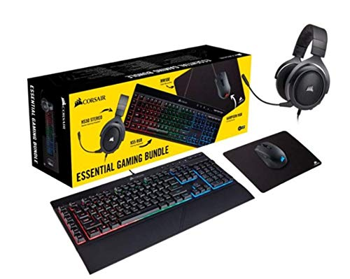 Corsair - Essential Wired Gaming Bundle (K55 Wired Gaming Membrane Keyboard/HS50 Gaming Headset/Harpoon RGB Gaming Mouse/MM100 Tuch Gaming Mauspad) Dome Bundle