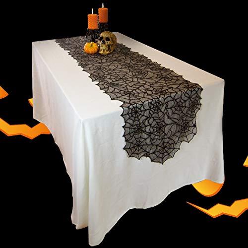 AYUE® 80 X 20 Zoll Polyester Halloween Spitze Tischläufer, Schwarz Spinnennetz Tischläufer Für Halloween Party Tischdekoration Und Scary Movie Night (2 Stück),Black,50 * 203Cm