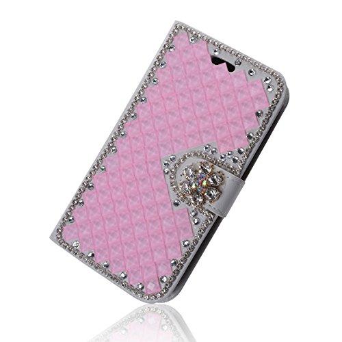 iPhone 6 Coque, iPhone 6s Coque, Lifeturt [ Rose diamant ] Livre cuir de qualité supérieure Wallet Case Cover pour iPhone 6 6s E02-38-Pink diamant