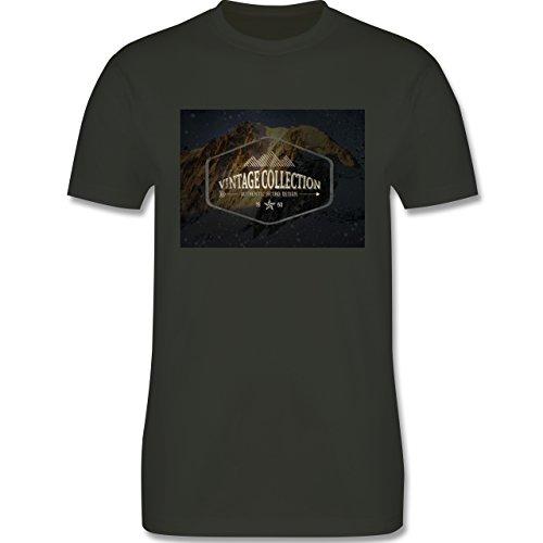 Wintersport - Retro Design Berge - Herren Premium T-Shirt Army Grün