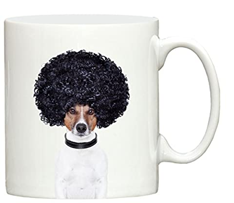 Jack Russell Afro Dog design hand printed ceramic mug printed in the UK by Dog Exhibitor merchandise, great for tea, coffee and most hot or cold