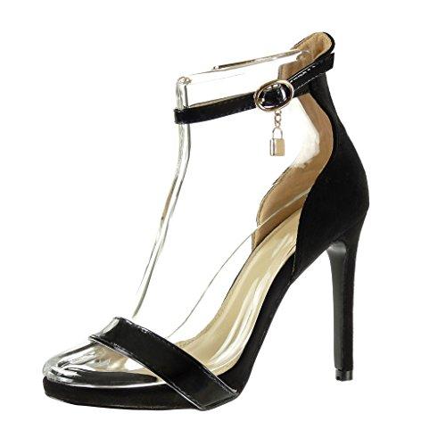 Angkorly Damen Schuhe Pumpe Sandalen - Stiletto - Knöchelriemen - Sexy - Schleife - Glänzende Stiletto High Heel 11 cm - Schwarz C-252 T 40