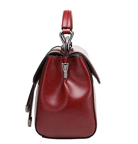 SAIERLONG Nuovo Donna Nero Pelle Bovina Genuina Borse Tracolle Vino rosso