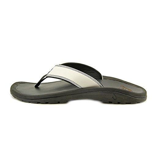 OluKai Mens Ohana Leather Off White/Black