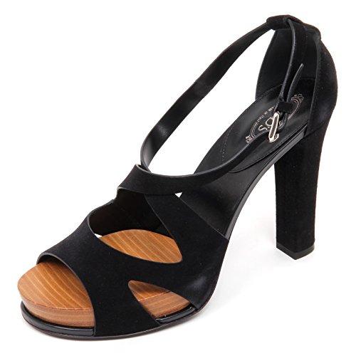 D2296 Femme Sandale Tods Chaussure Noir Sandale Chaussure Femme Noir
