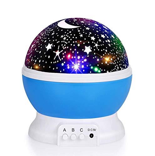 Lámpara Proyector, ICONNTECHS 360 Grados Rotación Proyector Lámpara Estrellas, 3 Modos luz de la Noche, Alimentado por Cable USB, Perfecto Regalo para Niños y Bebés