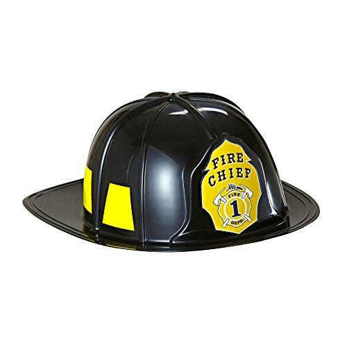 WIDMANN Cappello Pompiere in Plastica Dura per Adulti, Nero, Taglia Unica 2817F