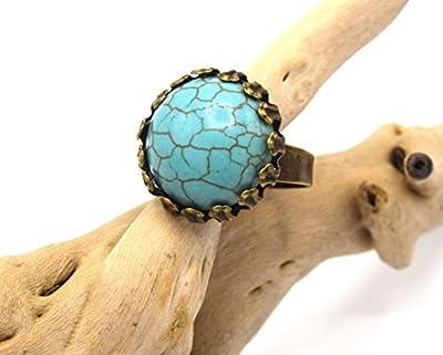Bague turquoise 20mm bronze, bague réglable améthyste pierre de gemme - bijoux en pierre naturelle vintage