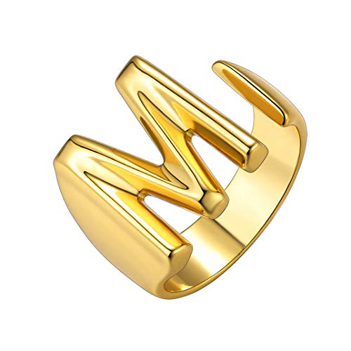 GoldChic Jewelry Golden Fashion Open Ring with Inicial