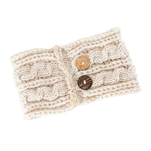 COZOCO 2019 Einfaches und nützliches Stirnband Frauen-Haar-Ball-strickendes Stirnband-elastisches handgemachtes Knopf-Entwurfs-Haarband Beige 22 cm x 11 cm