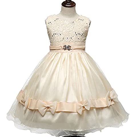 Little Girls Princess Lace Applique Flower Girl Birthday Party Dress Champagne 2-3T